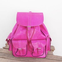 SALE - Pink Leather  Extra Large backpack, satchel bag Handmade Soft Leather School College Travel Picnic Weekend bag