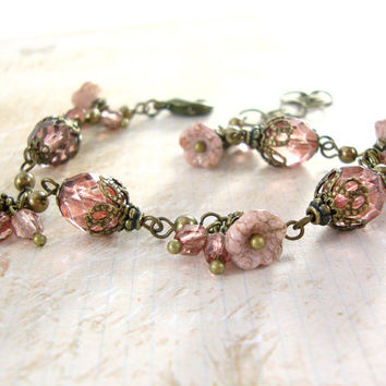 Dusty Pink Vintage Style Flower Bracelet - Neo Victorian Flower Jewelry - Antique Brass Czech Bead Art Jewelry - Floral Unique Jewelry