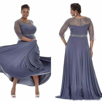 Plus Size Long Evening Dresses A Line Illusion O Neck 3/4 Sleeves Lace Sequined Bling Chiffon Fabric Gowns