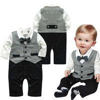 Baby Boy Vested Suit and Bow Tie Romper