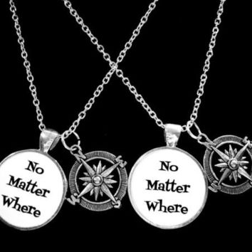 No Matter Where Compass Long Distance Best Friends Sisters Necklace Set