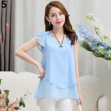 Fshion  Women's Fashion Summer Short Sleeve Loose Chiffon Round Neck Tops Blouse