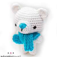 cute polar bear amigurumi plush doll toy with blue knit scarf