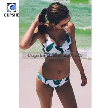 Cupshe Fresh Leaves 2017 Bikini Push Up Women Summer Swimsuit Ladies Beach Bathing Suit Swimwear Monokini Biquini