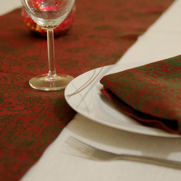 Red and Burgundy Quality Linen Table Runner with Paisley Pattern 59 x 13 inches