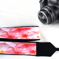 Flowers  Camera Strap. Floral Camera Strap. Pink Camera Strap. Camera Accessories