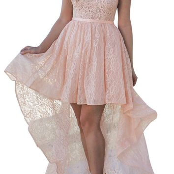 Pink Sweetheart Cutout Back Lace Hi-low Party Dress