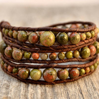 Rustic graduated leather wrap bracelet.  Bohemian beaded bracelet