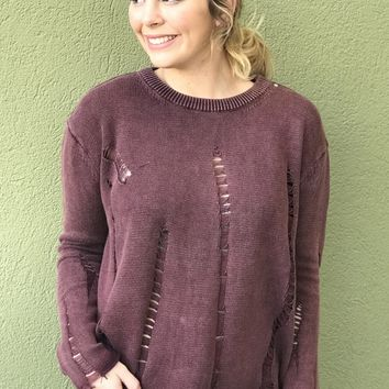 Just What I Want Top- Burgundy