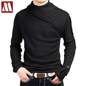 Men's Personality Asymmetric Sleeve Fashion Sweater Knitwear Male Sweaters For 2019 Bussiness Man Inside Coats Spring D344