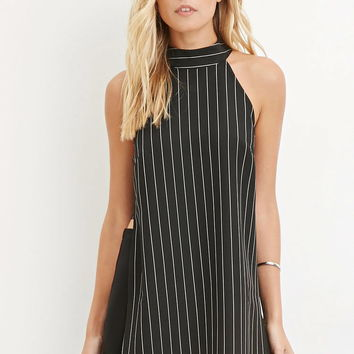 Contemporary Pinstriped High-Slit Tunic