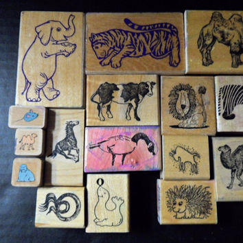 Rubber stamps Lot 26 Zoo Safari,Barnyard, Farm, Circus Animals Mounted Papercrafting, scrapbookers, homeschool, arts crafts supplies