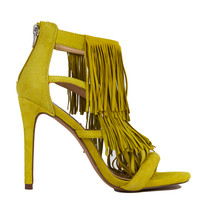 Steve Madden Fringly Fringed Yellow Suede Heeled Sandals