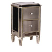 Antiqued Glass 2 Drawer Bedside | Venetian Mirrored Furniture | French Furniture