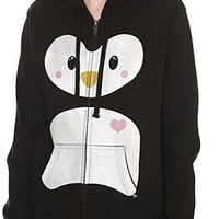 Goodie Two Sleeves Love Penguin Girls Zip Hoodie Plus Size - 936412