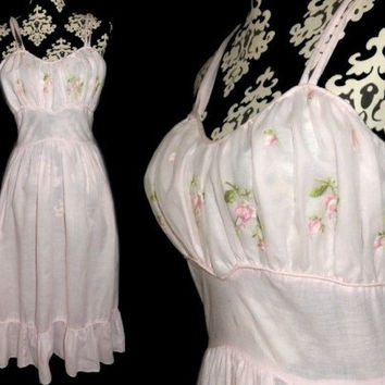 Vintage 50s Gown M Pink Cotton Nylon Chiffon Embroidered Nightgown Gown 36