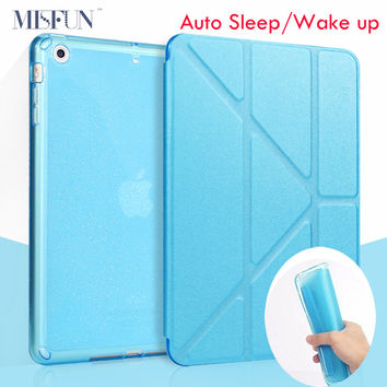 Smart Case For Ipad Air 2 / Air 1 5 Shapes Stand PU Leather Cover + Glitter Soft TPU Silicone for Ipad Mini 1 2 3 Auto Sleep/up