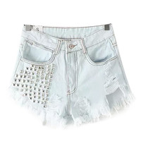 Rivet Ripped Shorts