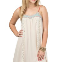 Flying Tomato Women's Cream and Mint with Lace & Embroidery Spaghetti Strap Chiffon Dress