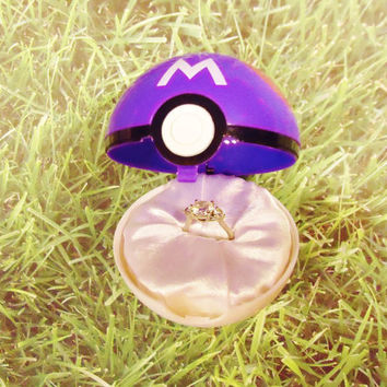 Pokemon Engagement Ring Box-Masterball option! Ring NOT included!