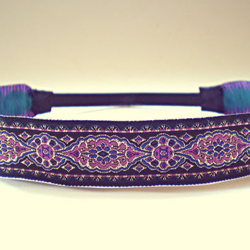 Hippie Headband Indian Style Bohemian Headband  Indie Hair Accessories Purple Blue and Gold