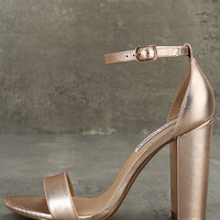 Steve Madden Carrson Rose Gold Leather Ankle Strap Heels