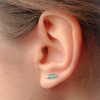 Tiny Turquoise Ear Pin Earrings, Sterling Silver Studs, Turquoise Ear Climber, Modern Earrings, Sterling Silver Studs