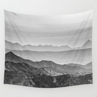 """Mountain dreams"". At sunset. BW Wall Tapestry by Guido Montañés"