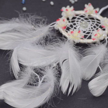Small White  Boho Car Dream catcher for women,  Car Accessory, Flower Dreamcatcher,  White Lavander Dreamcatcher, Baby Shower Gift.