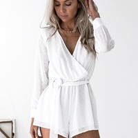 Polka Dot Playsuit (White)