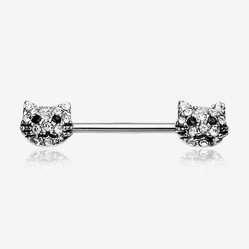 A Pair of Kitty Cat Multi-Gem Nipple Barbell Ring