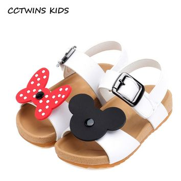 CCTWINS KIDS 2017 Summer Toddler Pu Leather Flat Children Fashion Bowtie Black Sandals Baby Girl Brand Beach Pink Shoe B772