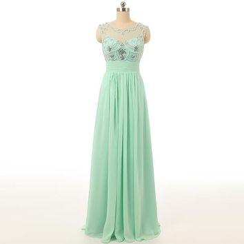 Emerald Green Prom Dresses Scoop Sleeveless A Line Floor Length Prom Dresses