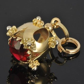 Fine Estate Jewelry - 18K gold Etruscan Style Charm with Red Jewel - European