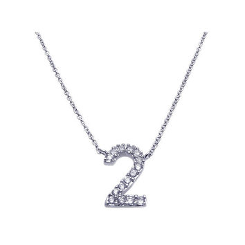 .925 Sterling Silver Rhodium Plated Clear Cubic Zirconia Number 2 Pendant Necklace 18 Inches
