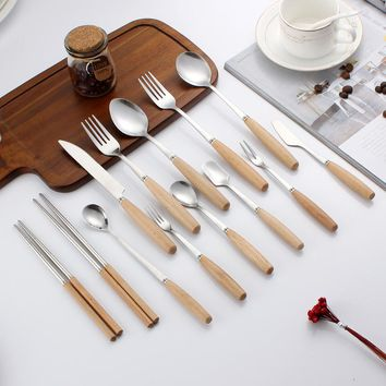 Multiple models Tableware 1PCS Wooden handle with Stainless Steel Fruit Fork High Quality E0