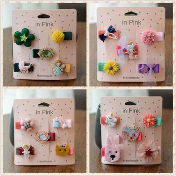 New infants toddlers mini hair clip fully wrapper safe clip cartoon animal flower Mermaid hair bow kids girls hair accessories