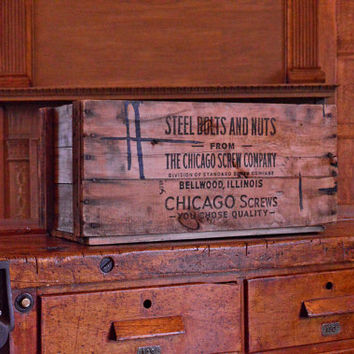 Vintage Wood Crate, Chicago Screw Company, Vinyl Storage Crate, Record Storage