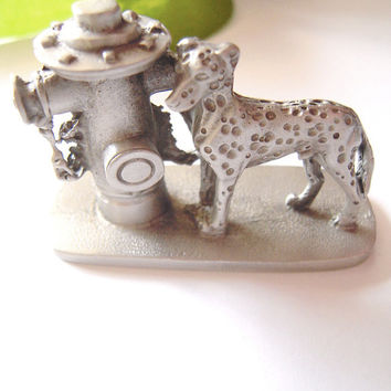 Dalmatian dog solid pewter collectible,fireman's dog, 2 available, teacher gift,dog & fire hydrant, cake topper, animal gift,fire dept gift.