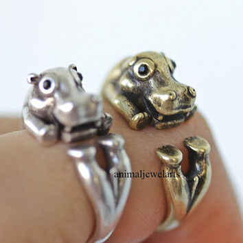 hippo, hippo ring, animal ring, animal wrap ring, animal jewelry, adjustable ring, man ring, burnished ring, retro ring