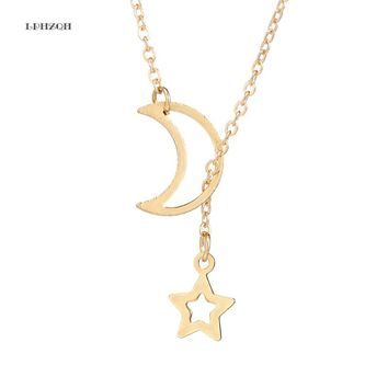2018 Fashion Brand OL Style Stainless Steel Love Hollow Moon Star Pendant Necklaces Women Lady Girl Party Gift LPHZQH