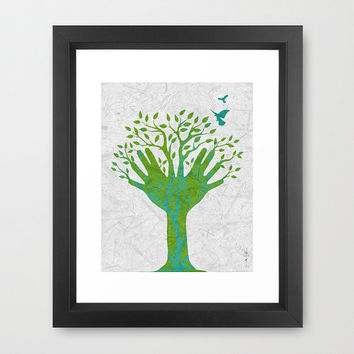 Giving Tree Framed Artist Signed Print Home Decor Nature Trees Leaves Spring Green Aqua Blue Birds Hands Namaste Botanical