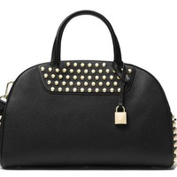 MICHAEL Michael Kors Austin Large Studded Leather Bowling Satchel Bag , Black Gold