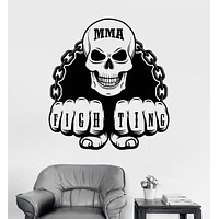 Vinyl Wall Decal MMA Martial Arts Fighting Skull Sports Fan Stickers Unique Gift (ig3263)
