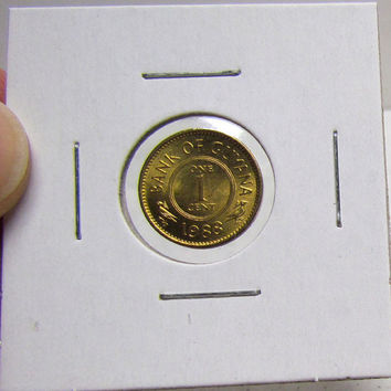 Vintage Coin, GUYANA, 1 CENT, 1988, Rare, Low Mintage (You Grade) ( In 2X2 Holder)