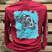 Southern Chics Sassy Classy Collection Preppy Elephant Distressed Long Sleeve Bright T Shirt