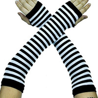 Stripe Black & White Fingerless Gloves Cosplay Arm Warmers