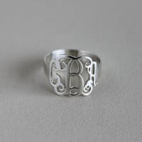 FREE SHIPPING USA Monogram Ring - 925 Sterling Silver Monogram Ring -%100 Handmade