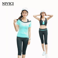 NIVICI 2016 Newest yoga set women sports bra Sexy push up Gym Breathable Fitness Clothes Workout sport costumes for women capris