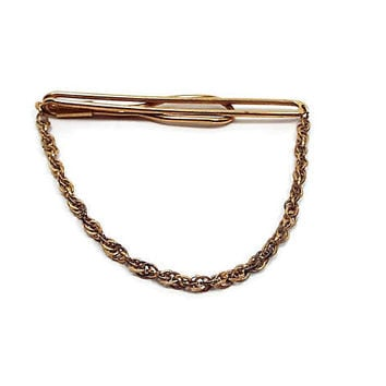 Swank Vintage Tie Bar Clasp Cravat Holder Gold Tone with Twisted Link Chain Open Slide on Mid Century Mens Jewelry